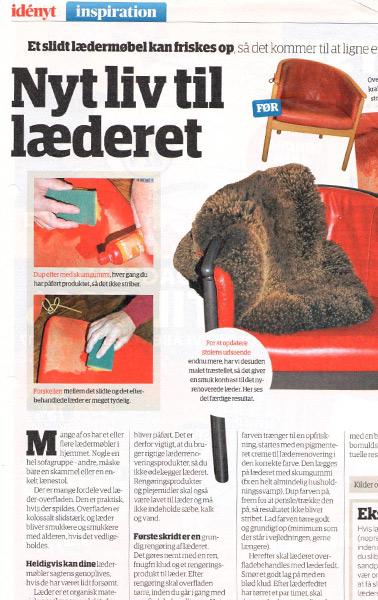 Læderpleje i redaktionel artikel for ROC Danmark og Farvehuset