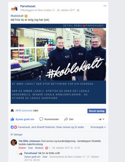 En facebook opdatering der vedkom og optog kunderne